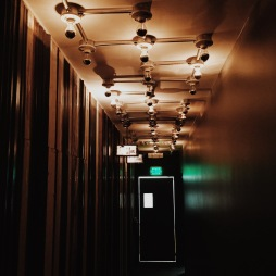 Hallway with stunning light feature.