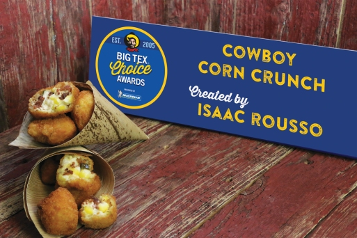 In a state known for its cowboy culture, this creation captures the quintessential taste of Texas – all in one bite. A kickin' mixture of sweet corn, minced jalapeño, rich cream cheese and a hint of smoky bacon, the Cowboy Corn Crunch is the perfect blend of savory and spice. This flavorful tot is fried to a golden, crispy brown and served in a unique palm leaf cone, proving especially convenient when walking while snacking around the fairgrounds. Get your taste buds ready, the first bite will knock your boots off!