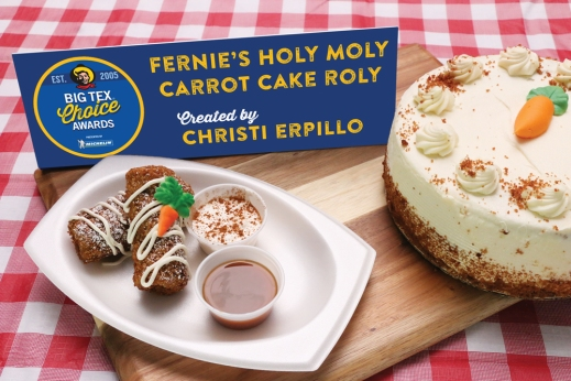 Taking a unique spin on a traditional dessert, this sweet treat turns carrot cake into a heaven-filled roll. Golden-baked bread swirled with cinnamon has been flattened and filled with moist carrot cake, plump raisins and crunchy julienned carrots. Rolled with a light coating of cream cheese and then breaded in a mixture of panko, graham crackers, cinnamon and nutmeg – holy moly this is far from your typical dessert! Drizzled with cream cheese frosting and lightly dusted with powdered sugar, this divine confection is served with extra caramel on the side as well as a caramel macchiato cream sauce.