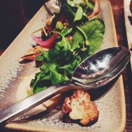 GRILLED CAULIFLOWER STEAKS- Okinawa white bbq sauce, pickled red onion, petite sorrel