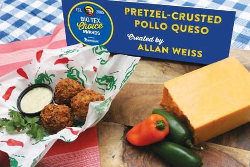 With a hint of Tex-Mex in both its name and its flavor, the Pretzel-Crusted Pollo Queso is just the right amount of spice. Shredded chicken is combined with a rich blend of cream cheese, Monterey Jack cheese, bacon, cilantro and Sriracha sauce. Rolled into a ball and crusted with a crispy pretzel breading, this item is then deep fried to golden perfection. Served with a jalapeño ranch dipping sauce for an extra kick, this dish is crunchy on the outside while keeping its center perfectly soft and gooey for the ultimate savory experience.