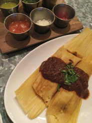 """Chicken Adobo Tamales with """"fixin's""""."""