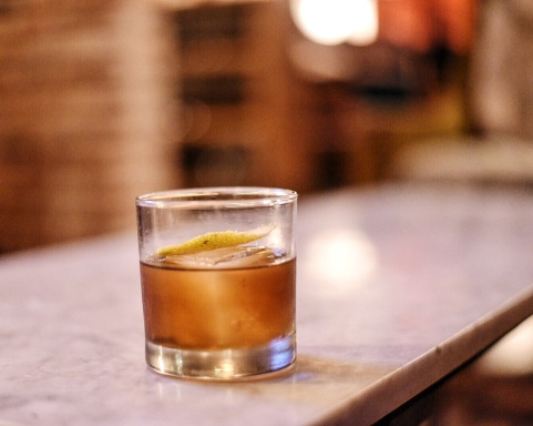 Signature Cedars Old Fashioned with Buffalo Trace Bourbon, vanilla syrup, cherry bitters, black walnut bitters, all smoked with burnt cedar wood. Cheers!
