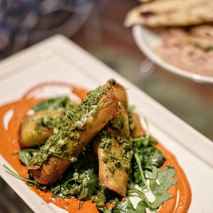 Definitely the star of the Hor D'oeuvres sampled, the Pumpkin Asadero Taquitos were a show stopper with pepita chimichurri, guajillo salsa, and TGH Farms arugula. Think creamy, bright, with just a hint of spice. Just....go taste for yourself.