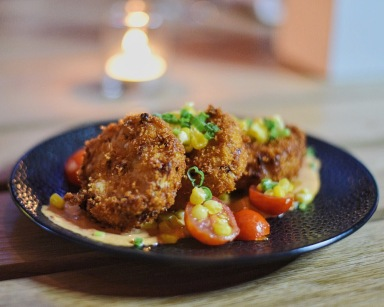 Crab Cakes with sweet corn salsa.