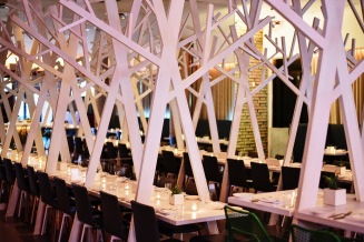 Tree-lined dining room.