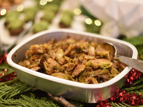 Maple Sriracha Brussels Sprouts: Shaved Brussels sprouts sautéed with a maple syrup and spicy Sriracha.