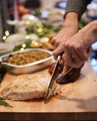 Oven Roasted Turkey Breast: Boneless turkey breast seasoned and roasted until tender and juicy.