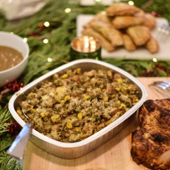 Cornbread Stuffing: Our famous stu ng is a mixture of rustic white bread and cornbread combined with fresh herbs, spices, onions and celery.